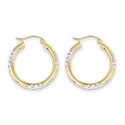 Roy Rose Jewellery 10K Yellow Gold & Rhodium Diamond Cut 3mm Hoop Earrings ~ 26mm length