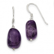Solid 925 Sterling Silver Simulated Amethyst Dangle Earrings