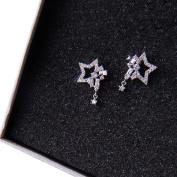 Womens Sliver Earrings, Coxeer Crystal Star Style Bling Bling Earrings Stud for Women Girls Ladies