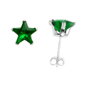 Sterling Silver Cubic Zirconia Emerald Star Star Earrings 7 mm Green Colour