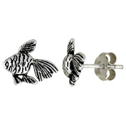 Tiny Sterling Silver Fish Stud Earrings 0.8cm