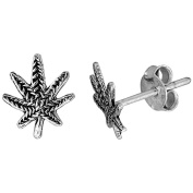 Tiny Sterling Silver Leaf Stud Earrings 1cm
