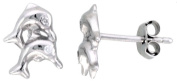 Sterling Silver Jewelled Dolphin Post Earrings, w/ Cubic Zirconia stones, 7/16""