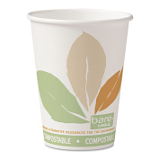 SOLO Cup Company Bare by Solo Eco-Forward PLA Paper Hot Cups, 350ml,Leaf Design,50/Bag,20 Bags/Ct