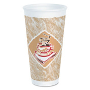 Dart Foam Hot/Cold Cups, 590ml, Café G Design, White/Brown with Red Accents