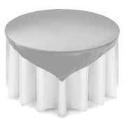 Lann's Linens 180cm Square Satin Tablecloth Overlay - Wedding Banquet Party Decoration - Silver