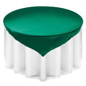 Lann's Linens 180cm Square Satin Tablecloth Overlay - Wedding Banquet Party Decoration - Hunter Green