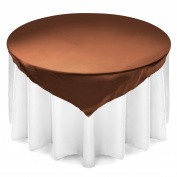 Lann's Linens 180cm Square Satin Tablecloth Overlay - Wedding Banquet Party Decoration - Chocolate