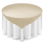 Lann's Linens 180cm Square Satin Tablecloth Overlay - Wedding Banquet Party Decoration - Ivory