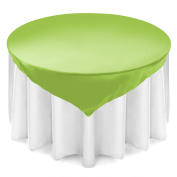 Lann's Linens 180cm Square Satin Tablecloth Overlay - Wedding Banquet Party Decoration - Lime Green