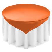 Lann's Linens 180cm Square Satin Tablecloth Overlay - Wedding Banquet Party Decoration - Orange