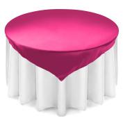 Lann's Linens 180cm Square Satin Tablecloth Overlay - Wedding Banquet Party Decoration - Fuchsia