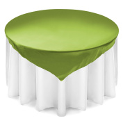 Lann's Linens 180cm Square Satin Tablecloth Overlay - Wedding Banquet Party Decoration - Willow Green