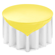 Lann's Linens 180cm Square Satin Tablecloth Overlay - Wedding Banquet Party Decoration - Light Yellow