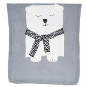 Ustide Cute Baby Cotton Knitted Blanket Bear Baby Blanket Super Soft Sleep Blanket, 80cm x 110cm Grey