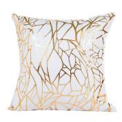 Deloito Gold Foil Printing Pillow Case Sofa Waist Throw Cushion Cover Home Decor C
