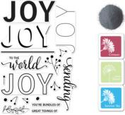 Hero Arts Colour Layering Joy Message Bundle Rubber Stamp, Ink Pad Set & Embossing Powder
