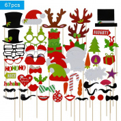 Lictin 67 pcs New Year Christmas Photo Booth Props Photo Props Photo Booth Accessories Funny DIY Favour Props, Photo Props DIY Kit for Party Supplies, Christmas Party Props Dress-up Accessories