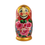 Matryoshka Russian Nesting Dolls Roses Classic Babushka Hand Made in Russia 5 pieces 18 cm Wooden Gift Toy