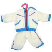 huichang Doll Clothes Thick White Fleece Hoodie Pants Outfits Jacket Suit 46cm For American Girl Doll