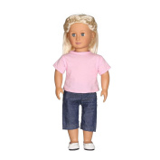 huichang Fashion T-shirt Jeans Pants Outfit Fit 46cm Our Generation For American Girl Doll