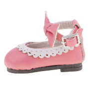 Sharplace Fashion Dolls Shoes PU Leather Strap Buckle Flats Shoes for 1/6 30cm Blythe Doll Toys - Pink, as described