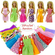 RUNGAO 20pcs Handmade Party Clothes Dress outfit for Barbie Doll Chirstmas Gift