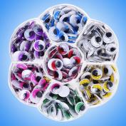 Cido 210Pcs Chlid' Craft DIY Wiggly Googly Doll Eyes Eyeball Crafts Toys Access