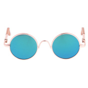 Sharplace A Pair of Fashion Retro Style Gold Round Frame Glasses Sunglasses for 1/6 Blythe Doll Accessories - Green Lens