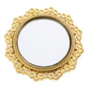 MagiDeal Vintage Style Round Golden Metal Framed Mirror Dollhouse Furniture Dia. 5cm