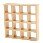 MagiDeal 1/12 Dollhouse Miniature 4x4 Cells Wooden Display Shelf Furinture Accessories