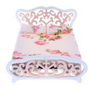 Sharplace 1:12 Dollhouse Furniture Pink Double Bed With Floral Mattress & Pillow