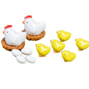 EdaEve 13-Piece Miniature Hen and Chickens Family Farm Animals Statues Home Game Decor Dollhouse Garden Miniatures
