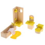 MagiDeal Dollhouse Furniture Miniature Wooden Bathroom Set Kids Pretend Play Toy