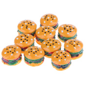 Sharplace 10 Pieces Mini Simulation Food Hamburgers for 1:12 Scale Dollhouse Living Room Dining Table Decor Kits