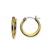 Stainless Steel Gold IP plated Tapered 19mm Hoop Earrings 19x2 mm