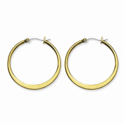 Stainless Steel Gold IP plated Tapered 34mm Hoop Earrings 34x2 mm