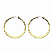 Stainless Steel Gold IP plated Tapered 43mm Hoop Earrings 43x2 mm