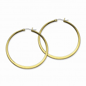 Stainless Steel Gold IP plated Tapered 50mm Hoop Earrings 50x2 mm