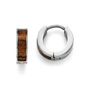 Stainless Steel Polished Brown/Black Enamelled Hinged Hoop Earrings
