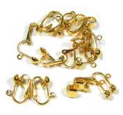 24 Gold Plated Clip on Earring Findings St ard Ball Easy Open Loop for Easy Converting From St ard Ear Wires 12 Pair