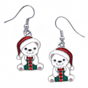 cocojewelry Santa Hat Polar Bear Dangle Earrings Christmas Holiday Jewellery