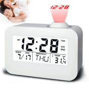 ROKOO Electronic LCD Projector Alarm Clock Time Temperature Digital Display Desk Table Bedside Clocks Voice Talking Calendar
