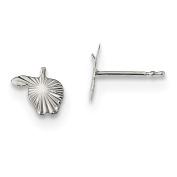 Sterling Silver Diamond Cut Apple Post Earrings