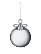 Alessi MW42 4 Dressed for X-mas Christmas tree ornament in blown glass and porcelain, silver coloured