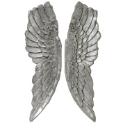 Large Antique Silver Angel Wings Wall Hanging Art Decoration Ornament