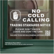 1 x HAND Design WINDOW Version-No Cold Callers,Salesman Calling Warning House Sticker-130mm-White on Clear-Self Adhesive Vinyl Internal Window Sign