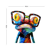 DecalMile Cartoon Animal Frog Wearing Glasses Hand-Painted Oil Painting On Canvas Wall Art Children'S Room Home Decoration Stretched And Framed Ready To Hang 40 X 40cm