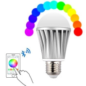 E27 Bluetooth LED Light Bulb, 20 Built-in Models RGB Smartphone Remote Controll Dimmable Multicoloured Colour Changing Lightbulb - For Home, Office, Parties, Dinners [Energy Class A]