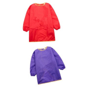 Sharplace Child Kids Long Sleeve Apron Drawing Cooking Art Smock Size M Purple+Red